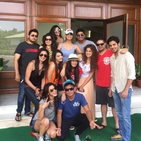 Raai Laxmi with friends on her birthday