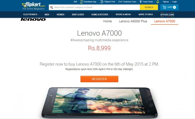 Lenovo A7000 Flipkart Flash Sale 4.0 to Start on 6 May