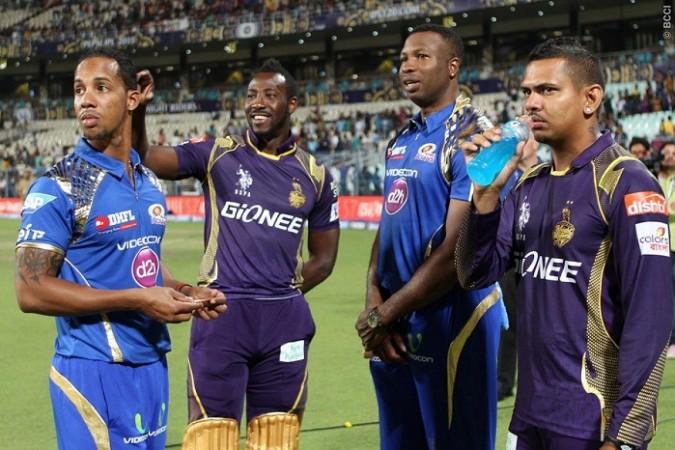 Mumbai Indians KKR Lendl Simmons Andre Russell Kieron Pollard Sunil Narine