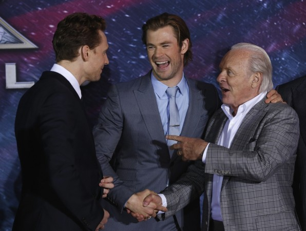 Tom Hiddleston, Chris Hemsworth and Anthony Hopkins attend the premiere of 'Thor: The Dark World' at El Capitan theatre on 4 November, 2013.