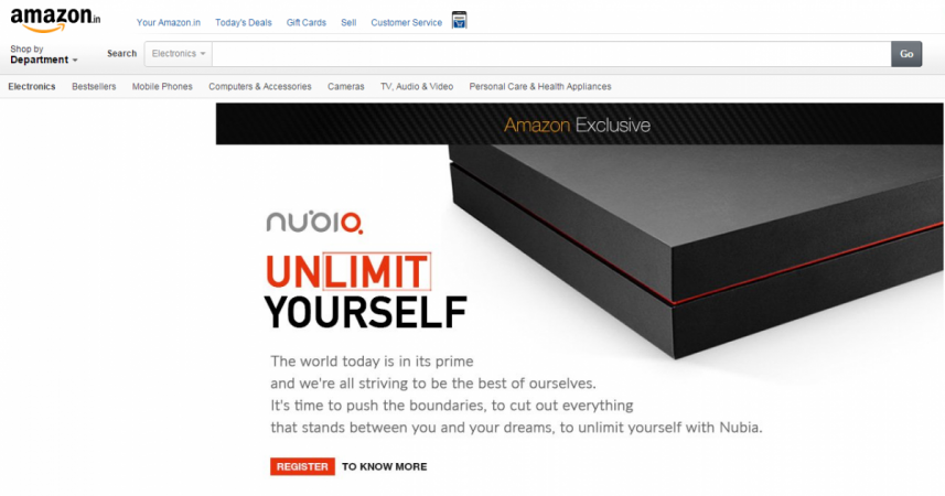Amazon India launches Nubia registration page