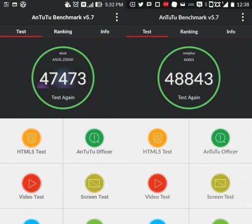 ASUS ZenFone 2 vs OnePlus One- Benchmark Antutu