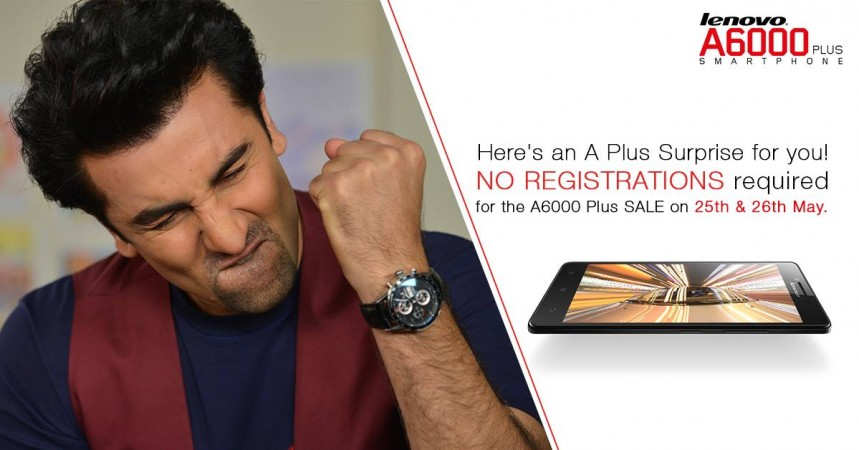 Lenovo A6000 Plus to be available without flash sale on 25th and 26th May, 2015 via Flipkart