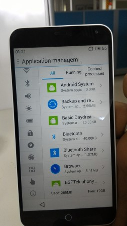 Meizu M1 Note Application Management Screen