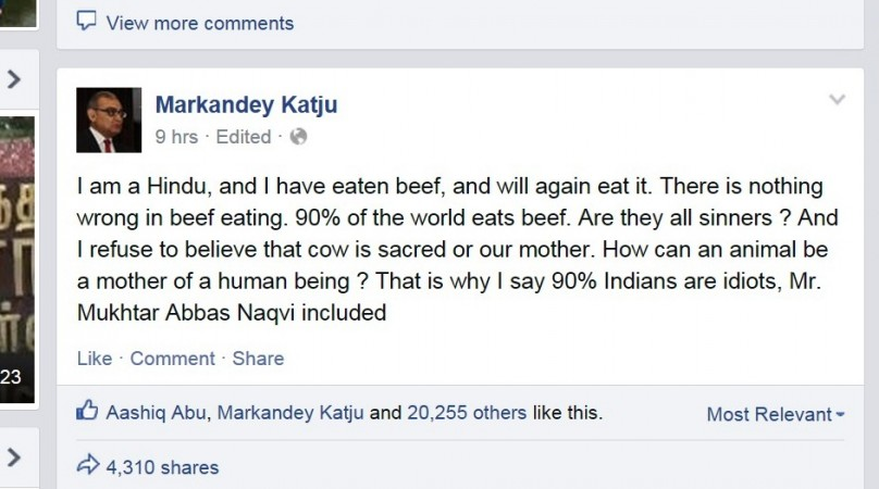 Justice Katju's Facebook post
