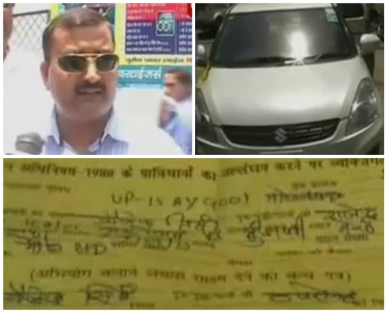 Meerut Man challaned for not wearing helmet while driving car