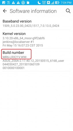 Find the Appropriate build number of your ZenFone before downloading the Lollipop OTA File