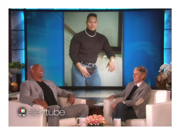 Dwayne Johnson and Ellen laugh at a tbt photo of' The Rock'