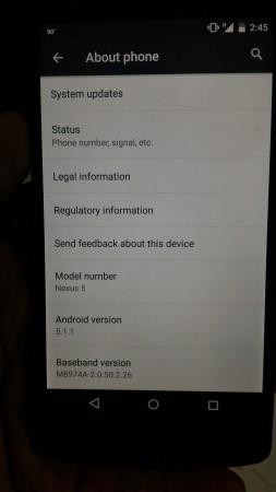 Version history of Nexus 5