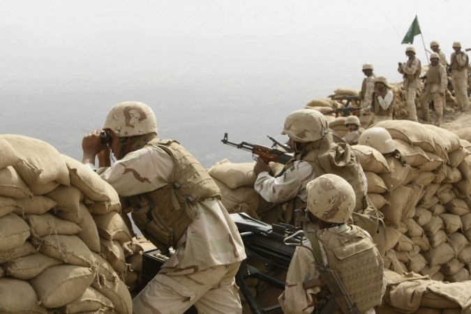 Saudi soldiers at Khoba, a frontline border post with Yemen