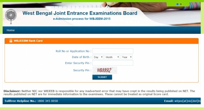 WBJEE results 2015