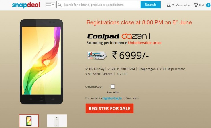 Snapdeal to Host Coolpad Dazen 1 Flash Sale on 9 June in India; 5 Key Features to Know