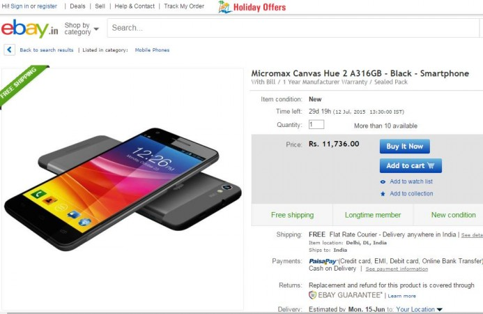 Micromax Canvas Hue 2 Launched in India; Price, Specifications