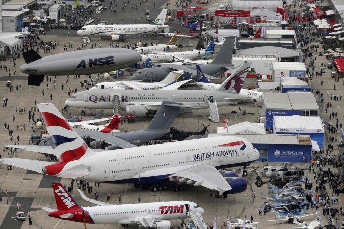 An aerial view of the 50th Paris Air Show, at the Le Bourget airport near Paris June 18, 2013.
