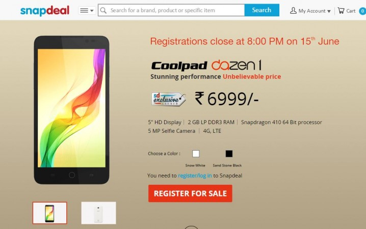 Coolpad Dazen 1 Snapdeal Flash Sale 2.0 to Give live on 16 June
