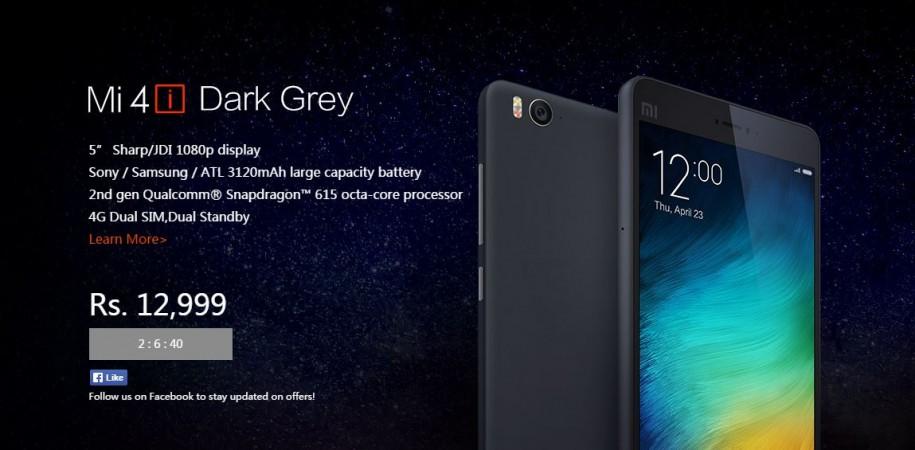 Xiaomi to Host Mi 4i Dark Grey Flash Sale on 16 June