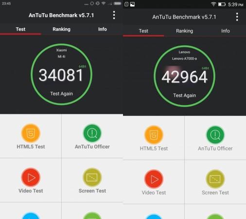 Xiaomi Mi 4i vs Lenovo A7000 Review: benchmark