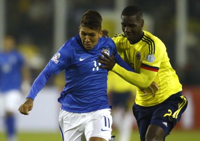 Roberto Firmino Brazil Cristian Zapata Colombia Copa America 2015