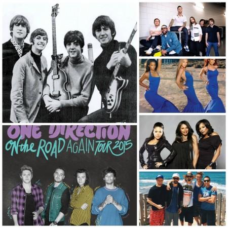 Beatles, Maroon 5, Destiny's Child Salt N Peppa, Backstreet Boys and One Direction (Clockwise)