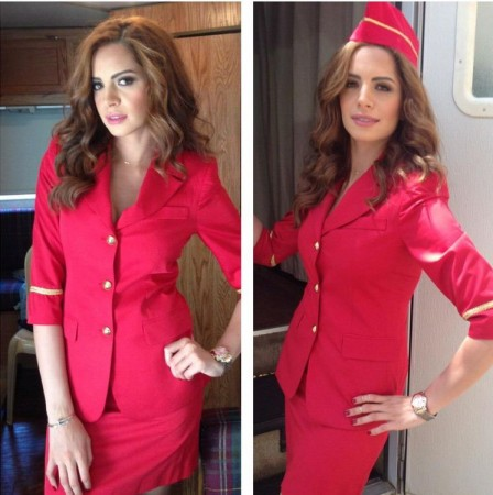 Amal Maher dressed as an air hostess