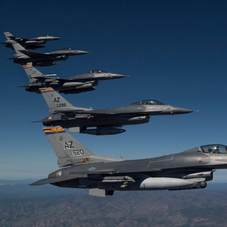An F-16 belonging to the 162nd Wing Arizona Air National Guard has crashed in Douglas. File photo of F-16 planes belonging to 162nd Wing Arizona Air National Guard during an air show