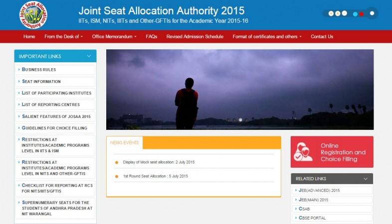 Joint seat allocation IIT JEE main CBSE rank list