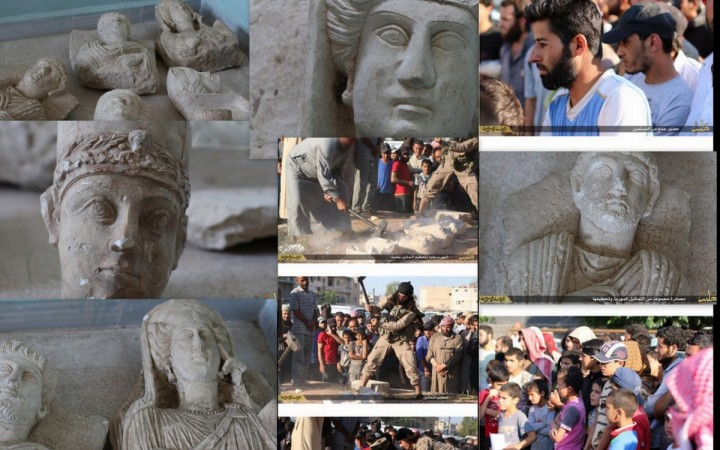 Isis destroys the ancient statues of Palmyra.
