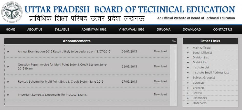 Uttar Pradesh Polytechnic Diploma exam BTEUP 2015 result