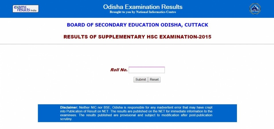 Odisha Supplementary HSC examination results 2015