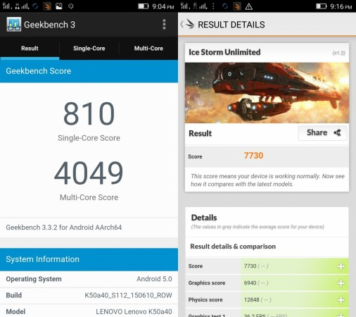 Lenovo K3 Note Benchmark Scores- GeekBench and 3DMark