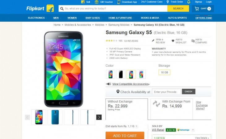 Samsung Galaxy S5 Gets Major Price-Cut in India; Available for Less than ₹15,000 Under Flipkart Exchange Deal