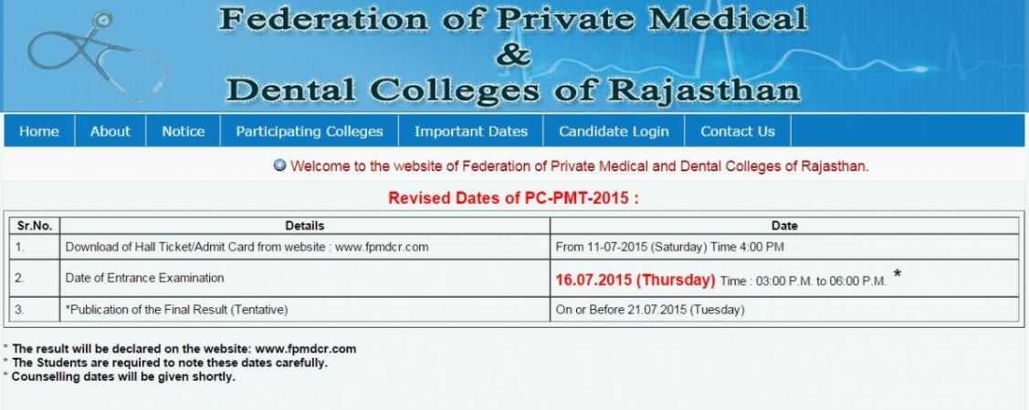 Rajasthan PC PMT 2015 results