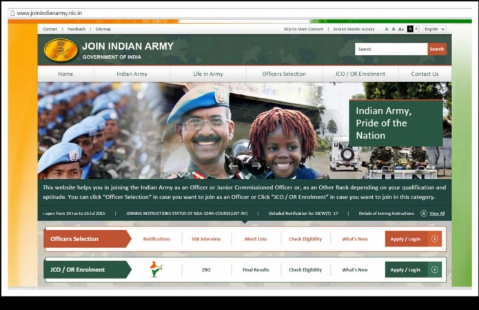 Screen shot of Indian army recruitment website