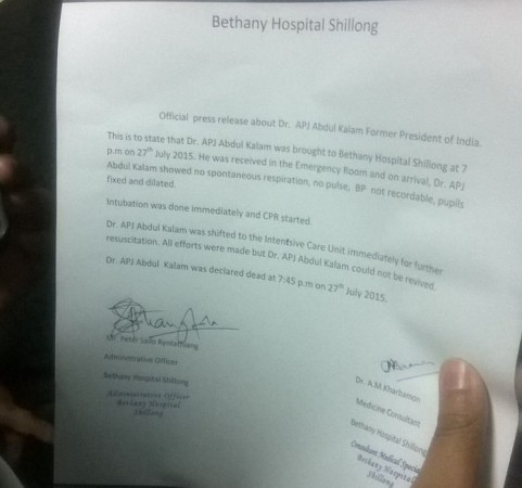 Abdul Kalam's Demise: Official Press Release from Bethany Hospital