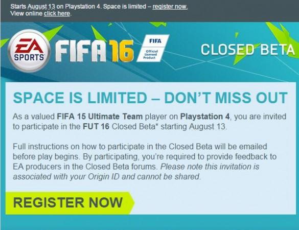 FIFA 16 Beta Invite