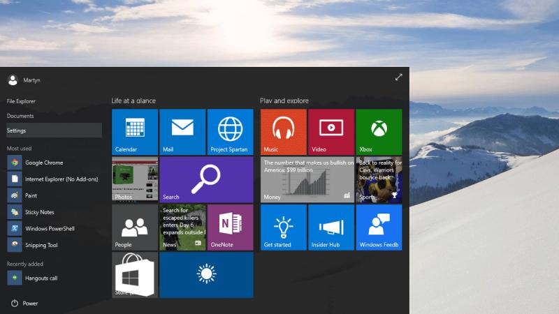 Windows 10 Start Menu Screen