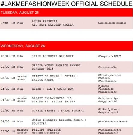 Lakme Fashion Week Winter/Festive 2015 Schedule