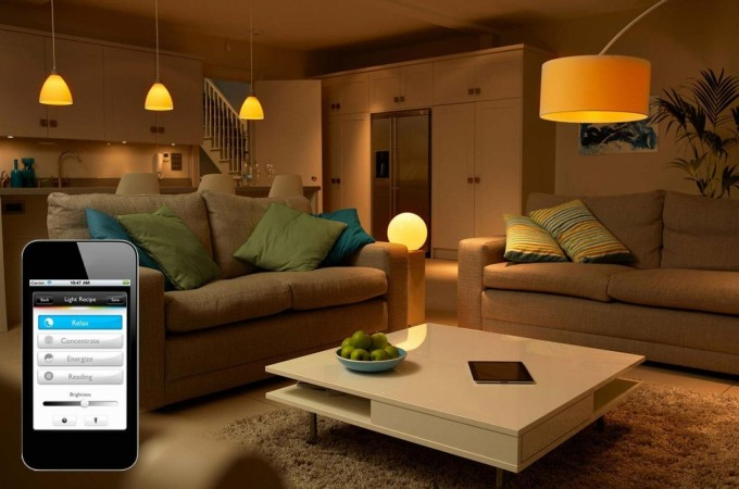 A Living room with Philips Hue IoT Lighitng Environment