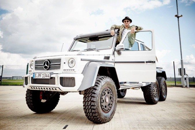 Lewis Hamilton with Mercedes-Benz G63 AMG 6x6