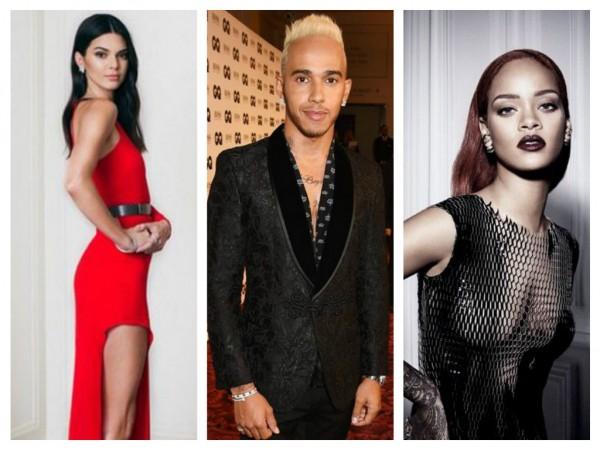 Kendall Jenner, Lewis Hamilton and Rihanna