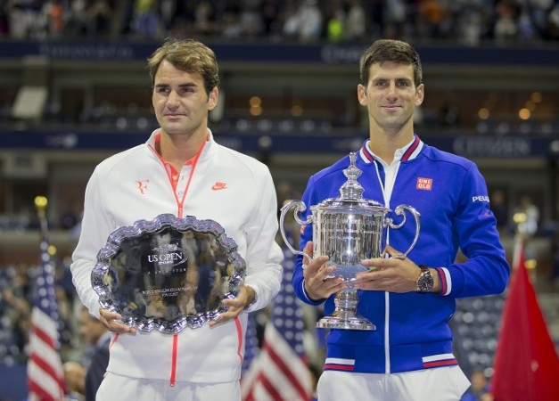 Roger Federer Novak Djokovic US Open 2015 Trophy