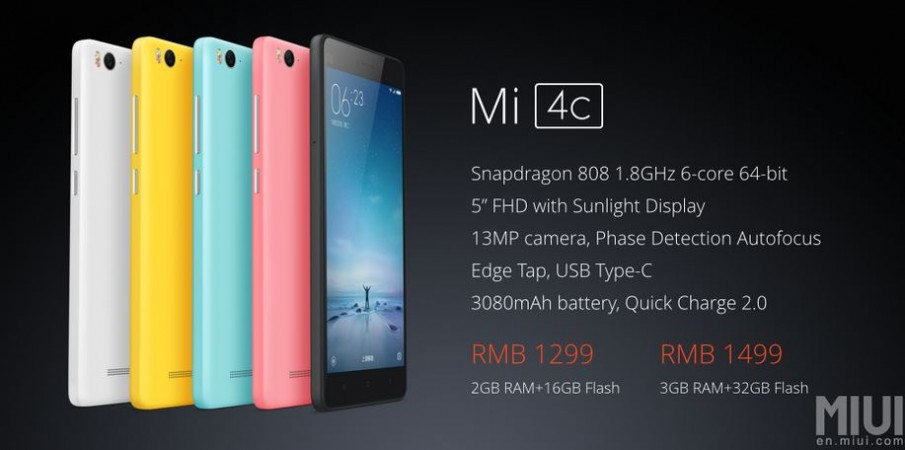 Xiaomi Mi 4C with Snapdragon 808 SoC launched in China; price, specifications