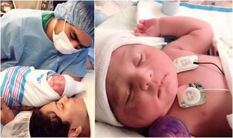 Veena Malik with husband Asad Bashir and new born baby girl Amal