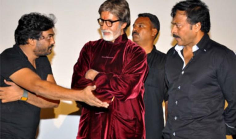 Amitabh Bachchan, Chiranjeevi and Puri Jagan at premiere show of Bbuddah hoga tera Baap