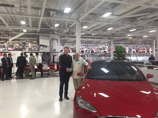 PM Narendra Modi at the headquarters of Tesla Motors