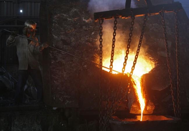 A labourer at a steel plant