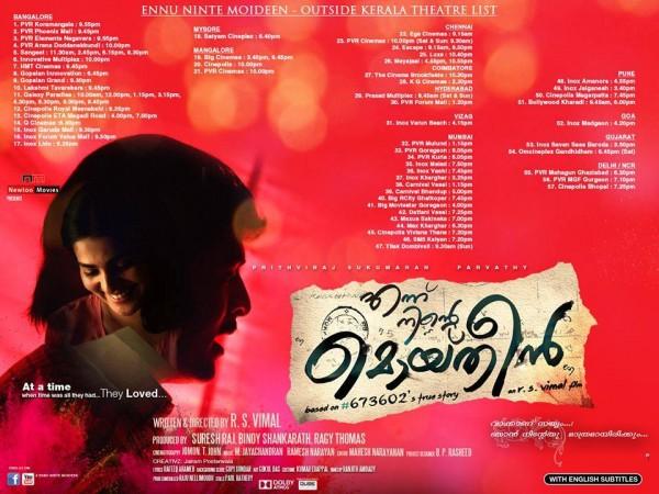 Ennu Ninte Moideen Theatre List Outside Kerala