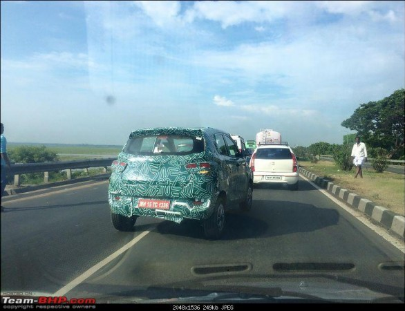 Mahindra S101 (KUV100/XUV100) spotted with Chevrolet Beat-like rear door handles