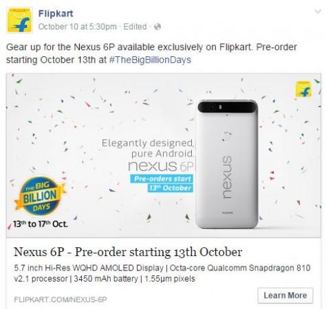 Flipkart's The Big Billion Days sale: Huawei Nexus 6P exclusive pre-order to go live on 13 October