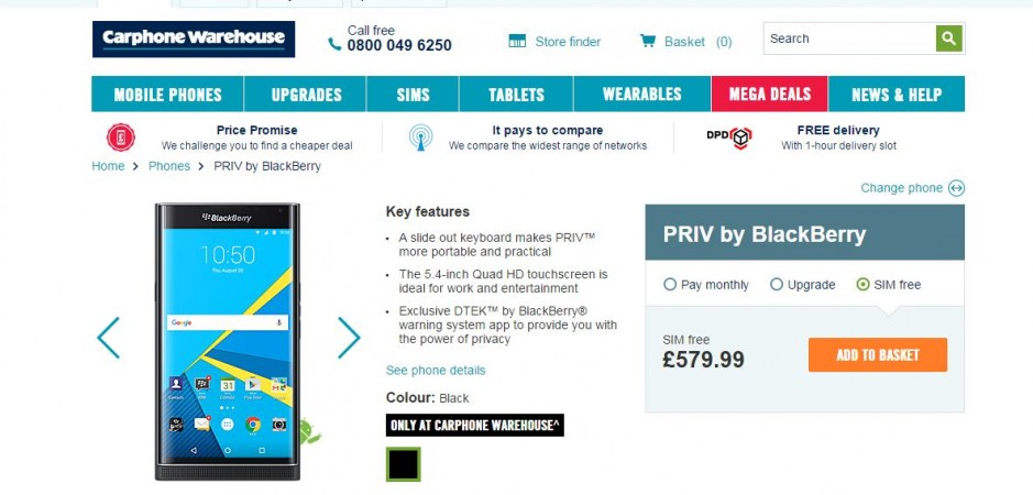 UK retailer reveals BlackBerry Priv Android smartphone specifications, price (SIM-free) details
